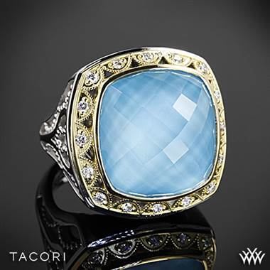 Tacori Barbados blue clear quartz over neolite turquoise and diamond ring set in sterling silver with 18K yellow gold accents at Whiteflash