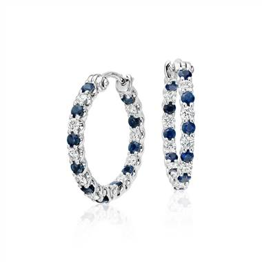 Luna sapphire and diamond hoop earrings set in 18K white gold at Blue Nile