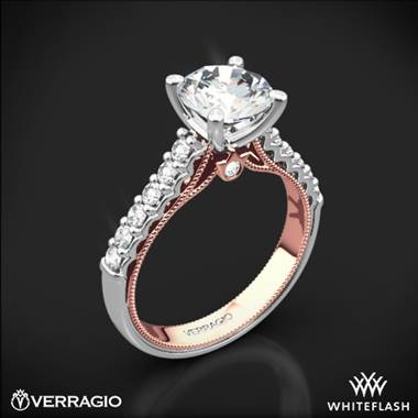 Verragio Renaissance two-tone diamond engagement ring set in 14K white and rose gold at Whiteflash