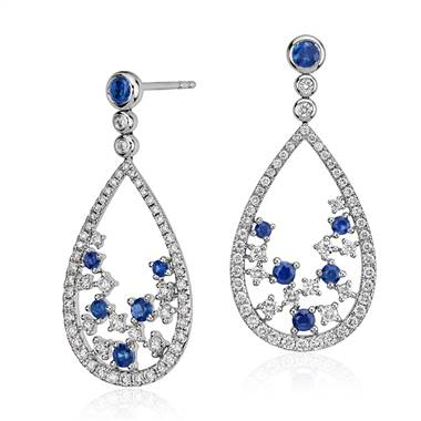Something blue, sapphire and diamond floral teardrop earring set in 18K white gold at Blue Nile