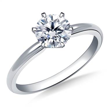 Six prong pre-set round diamond solitaire ring set in 14K white gold at B2C Jewels