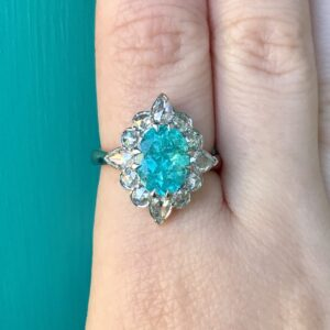 Paraiba Tourmaline in a Rose Cut Halo
