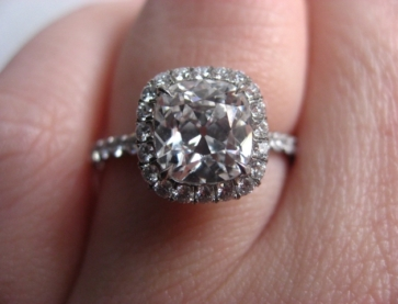 Hellokitty6782 originally posted her gorgeous cushion halo engagement ring on the Show Me the Bling forum at PriceScope. Who doesn't love an engagement? Harry Winston inspired beauty is especially fabulous.