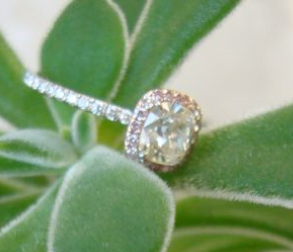 AVC in Pink Diamond Halo Engagement Ring