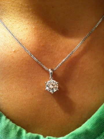 Engagement Ring Diamond Reset into Pendant