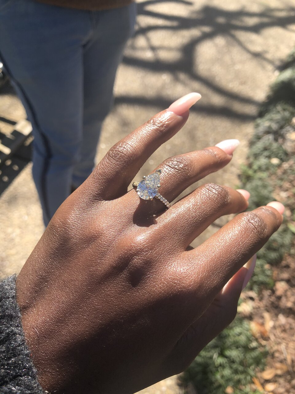 Warm Pear Engagement Ring