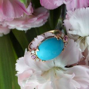 Persian turquoise ring set in 18K yellow gold - posted by marymm