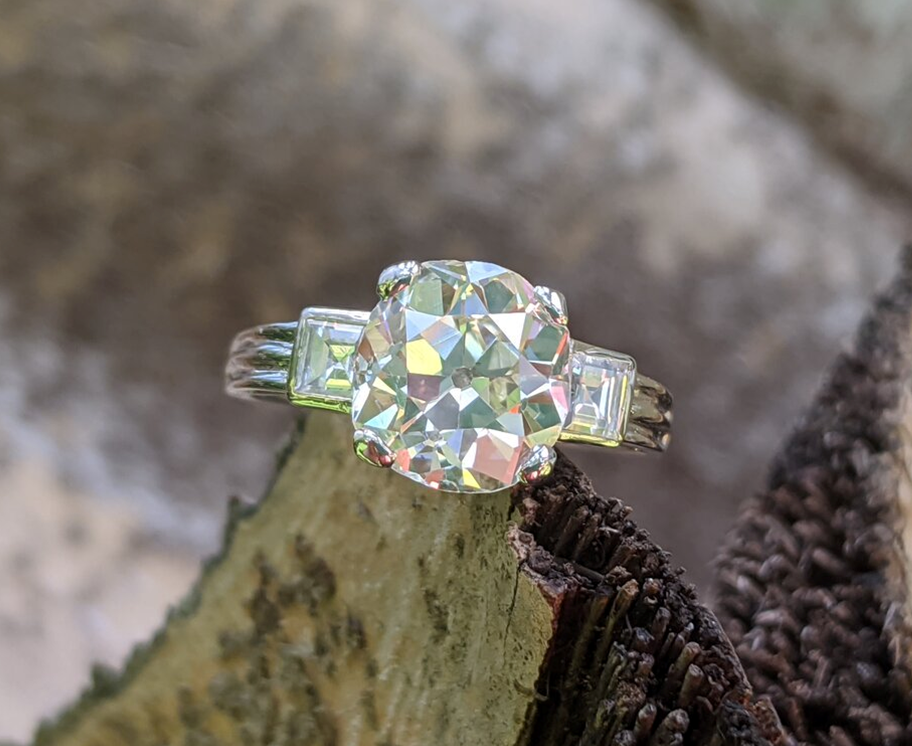 Opalescent Prettiness: Old Mine Cut Diamond Ring