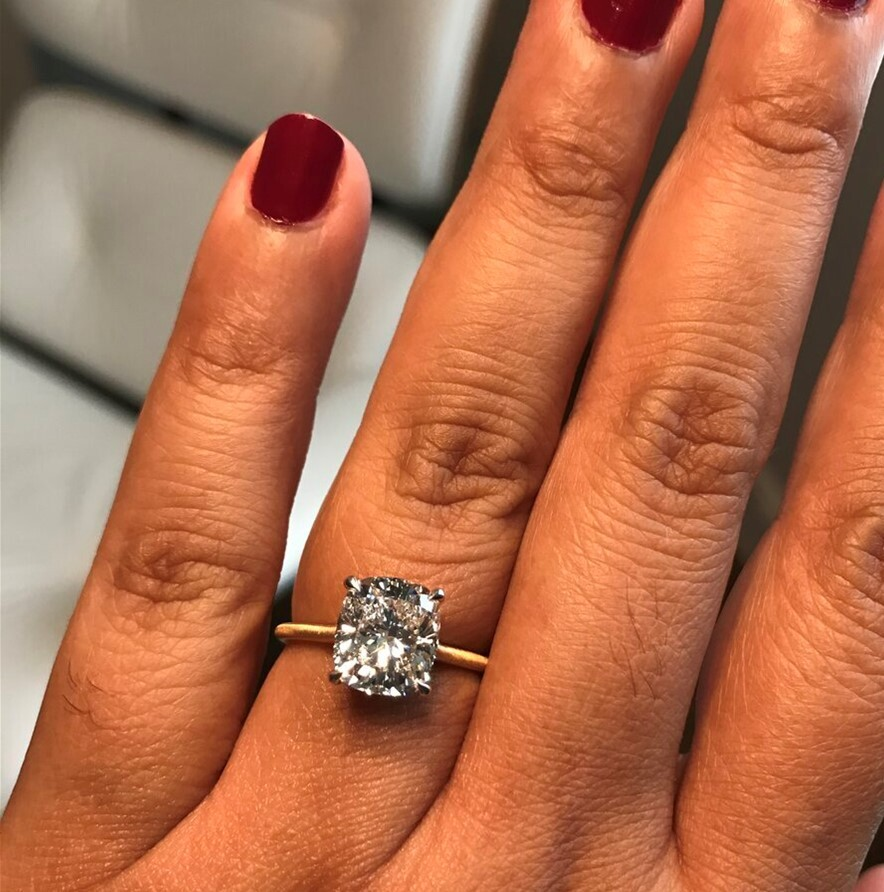 An EX/EX Cushion Cut Engagement Ring Upgrade