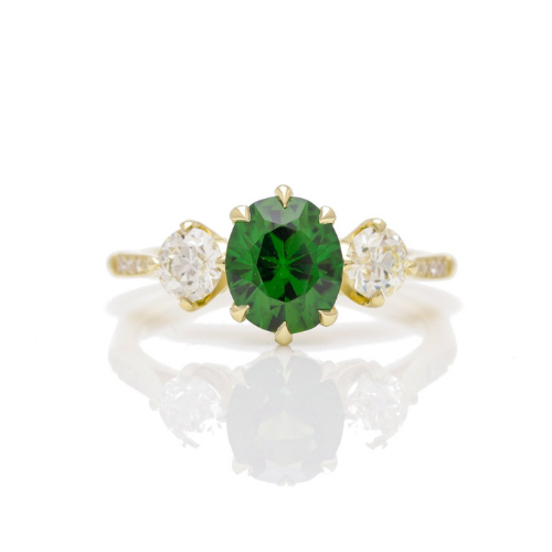Tourmaline three stone diamond ring.