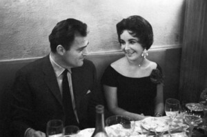 Elizabeth Taylor wearing the diamond heart pendant necklace with her late husband, Mike Todd.