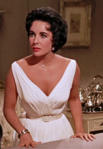 Half body shot of Elizabeth Taylor starring in Cat on a Hot Tin Roof.