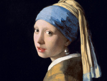 A painting of a girl Girl with a Pearl Earring painted by Johannes Vermeer.