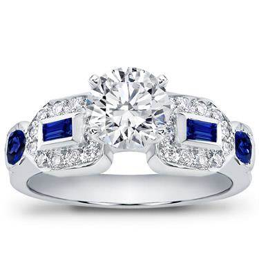 Baguette, pave and sapphire engagement setting at Adiamor
