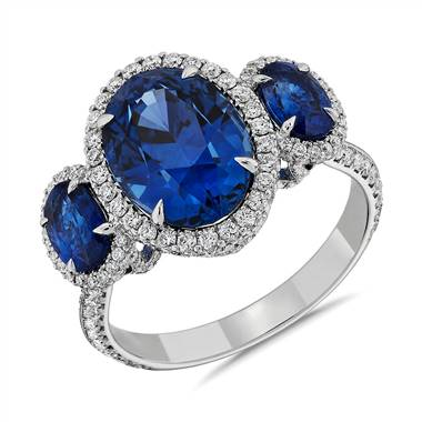 Three stone sapphire and diamond ring set in 18K white gold at Blue Nile