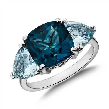 Cushion London blue topaz and aquamarine trillion ring set in 14K white gold at Blue Nile