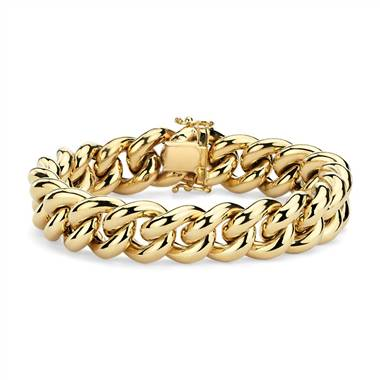 Oversized curb chain bracelet set in 14K Italian yellow gold at Blue Nile