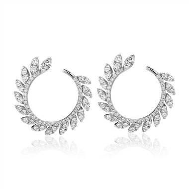 Diamond pave leaf hoop earrings set in 14K white gold at Blue Nile