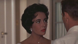 Zoomed in shot of Elizabeth Taylor starring in Cat on a Hot Tin Roof.