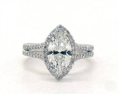 Double shank marquise halo engagement ring set in platinum 4mm width band at James Allen