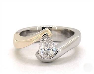 Two-tone pear tension engagement ring set in 14K white gold and yellow gold with a 4mm width band at James Allen