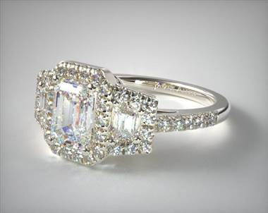 Framed trapezoid three stone diamond engagement ring set in 18K white gold at James Allen