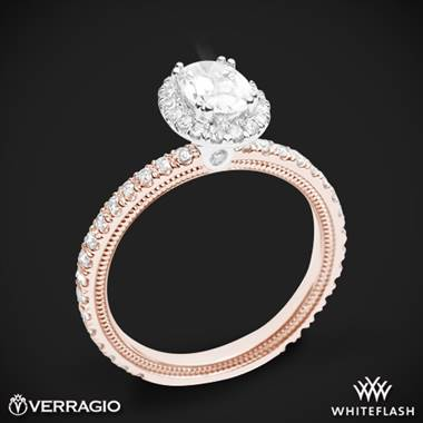 Verragio tradition diamond oval halo engagement ring set in 14K rose gold with white gold head at Whiteflash by Verragio