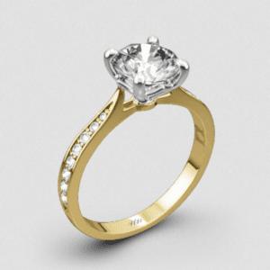 Whiteflash18k Yellow White Gold Legato Sleek Line Pave Diamond Engagement Ring
