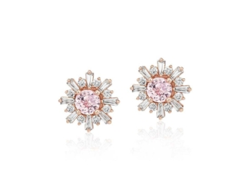 Morganite Earrings with Baguette Diamond Halo in 14k Rose Gold at Blue Nile)