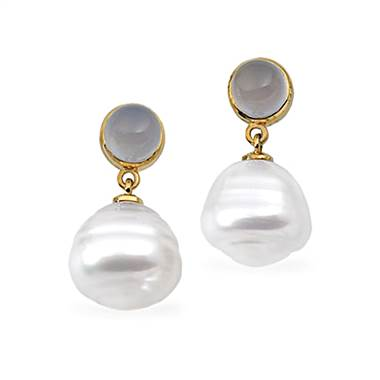 14K Yellow Gold South Sea Cultured Circle Pearl & Genuine Chalcedony Earrings