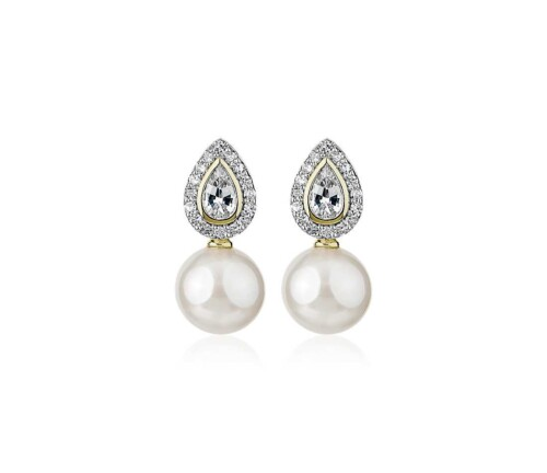 Freshwater Pearl and White Sapphire Drop Earrings in 14k Yellow Gold at Blue Nile