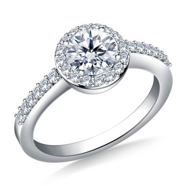 A halo prong set round diamond engagement ring set in 14K white gold at B2C Jewels.