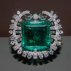 Tiffany & Co. Hooker emerald brooch (Source: Wikipedia https://en.wikipedia.org/wiki/File:Hooker_Emerald_Brooch.jpg#file photo was not altered)