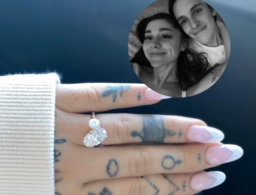 A close up image of Ariana Grande's Toi Et Moi engagement ring and a selfie of Ariana Grande and her now fiancé, Dalton Gomez in the top right corner.