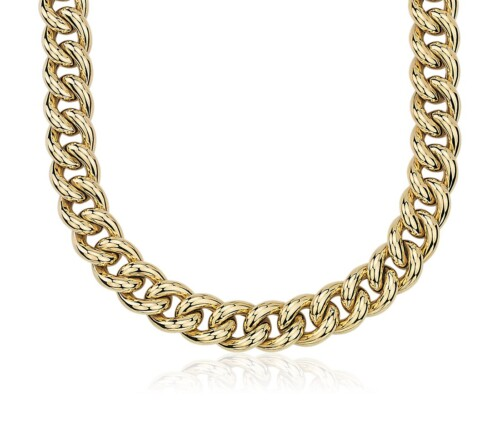Oversized Hollow Curb Chain Necklace in 14k Italian Yellow Gold at Blue Nile
