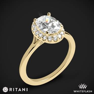 Ritani halo solitaire engagement ring set in 18K yellow gold at Whiteflash
