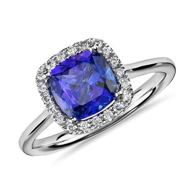 Tanzanite cushion and diamond halo ring set in 14K white gold at Blue Nile