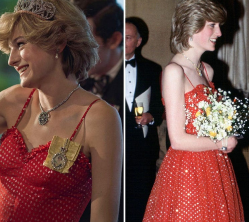 The Jewels of Diana, Princess of Wales as seen on The Crown. blond woman in red dress with flashy diamond necklace