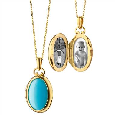 Monica Rich Kosann petite turquoise and mother of pearl locket set in 18k yellow gold at Blue Nile