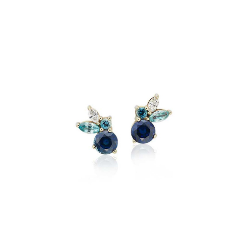 Multi-Gemstone (Sapphire, Aquamarine and Blue Zircon) and Diamond Cluster Earrings set in 14k Yellow Gold.