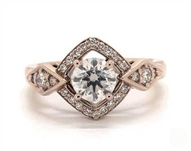 Art Deco Geometric Halo Engagement Ring in 14K Rose Gold 2.8mm Width Band