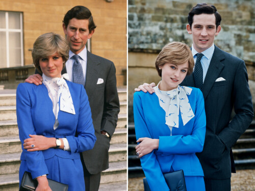 Left: The Engagement of HRH Prince Charles and Lady Diana Spencer, Right: The Crown (via InStyle)