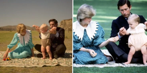 Left: The Crown, Right: Diana and Charles in Australia with baby William