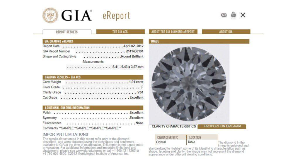 diamond certification - GIA Diamond eReport
