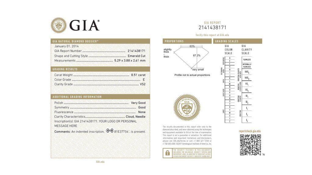 diamond certification - GIA Diamond Dossier