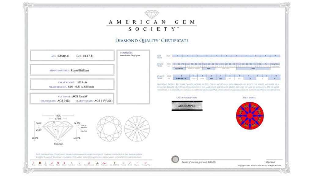 diamond certification - AGS Diamond Quality Certificate