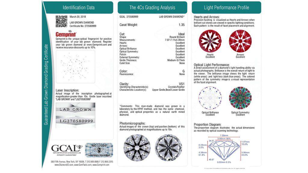 diamond certification - GCAL Guaranteed Lab-Grown Diamond Certificate