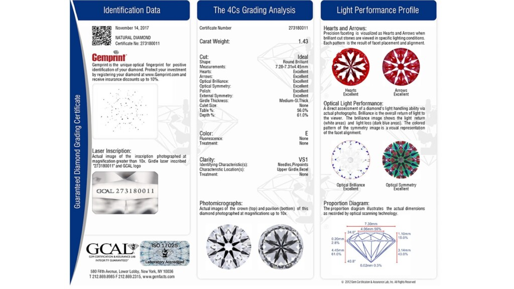 diamond certification - GCAL Guaranteed Diamond Grading Certificate