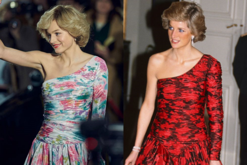 Left: The Crown, Right: Diana, Princess of Wales (via Marie Claire)