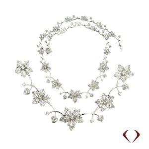 Diamond Flower Necklace All The Way Around at ID Jewelry